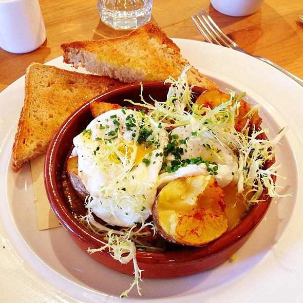 Milk Braised Pork, Crispy Potatoes, Frisée, Poached Eggs and Toast @ Piccino