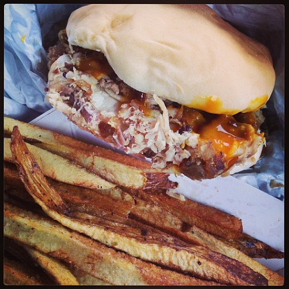 Barbecue with Carolina mustard sauce and handcut fries with Old Bay Seasoning @ Bull Island Barbecue