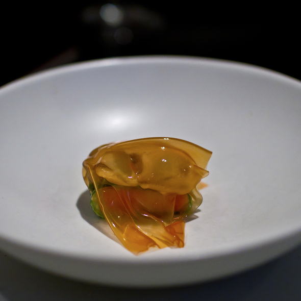 Oyster, cabbage, pork belly and fermented pepper @ Benu