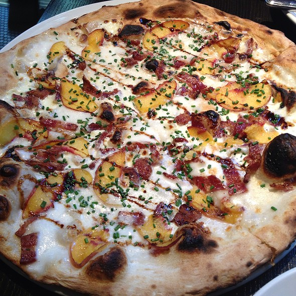 Peach, Bacon, Mascarpone Cheese Pizza, With Balsamic Reduction