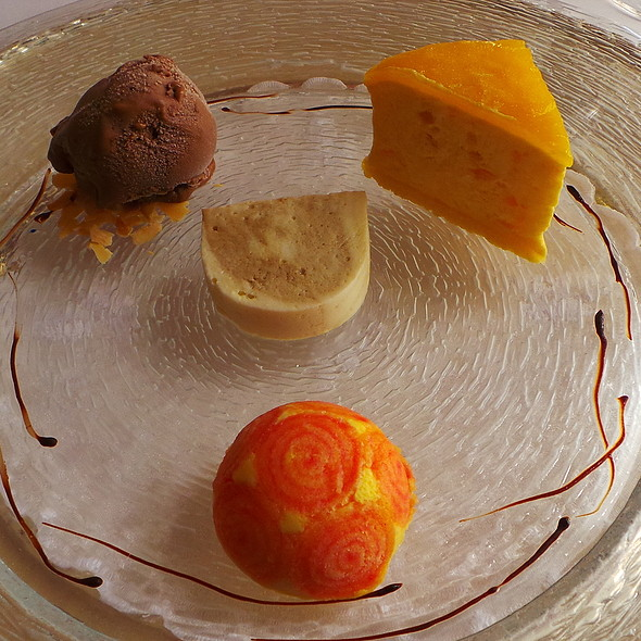 Orange Parfait, Chocolate Ice Cream, Coffee Terrine, Passionfruit Charlotte @ Zur Traube