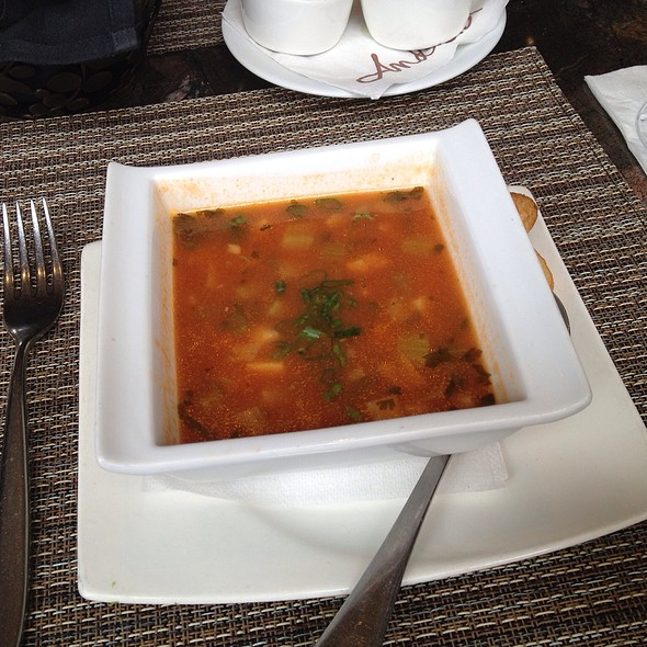tomato soup with seafood - Andrei's Conscious Cuisine & Cocktails, Irvine, CA