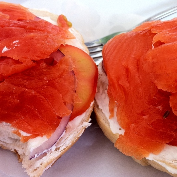 Bagel with Lox and Cream Cheese @ BKK Bagel Bakery
