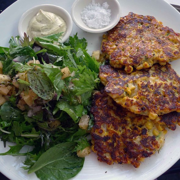 Zucchini, Haloumi and Sweet Corn Fritters @ Cafe People - Ponsonby Cafe and Venue