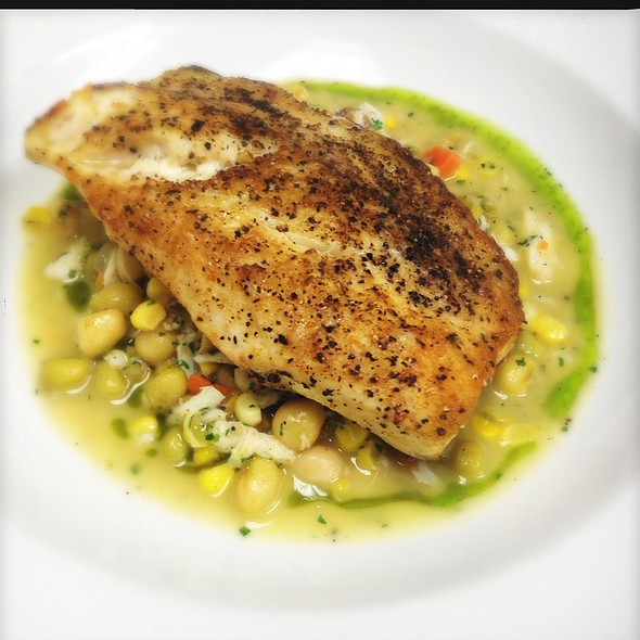 Sauteed La Drum Over Pancetta Braised Crowder Pea, Corn And Crabmeat Succotash @ Ste. Marie