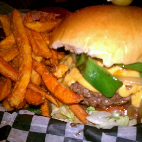 Philly Burger with Sweet Potato Fries @ Abbey Burger Bistro