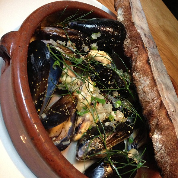 Mussels With Lardo On Grilled Crostini - Bar Agricole, San Francisco, CA