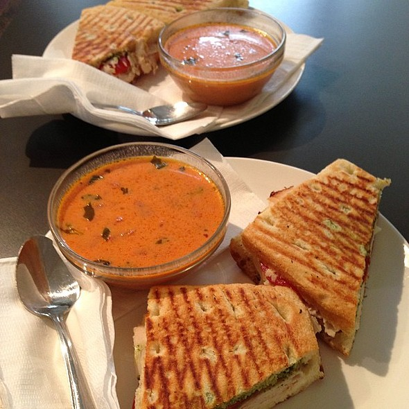 with my best friend. Yup, we ordered the same thing: tacchino panini and tomato basil soup. @ Dolce & Salato