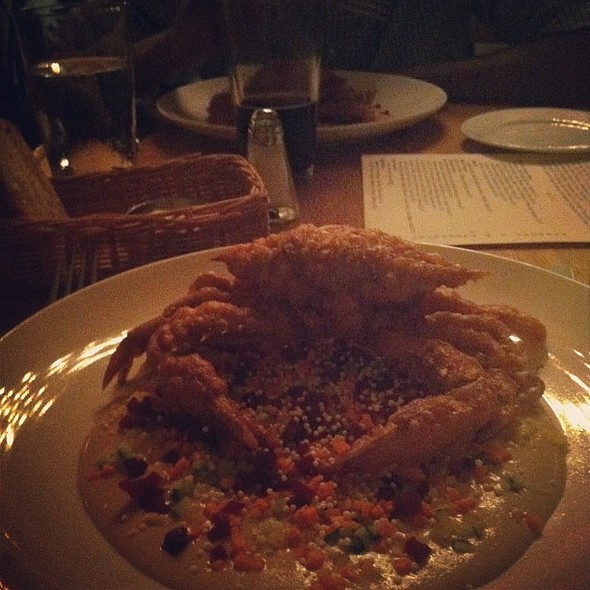 """""""You wanna share it?"""" """"…Um, let's get two."""" Lentil stuffed soft shell crab. Stupid good. Possibly the best thing I've eaten this year. @ Mintwood Place"""