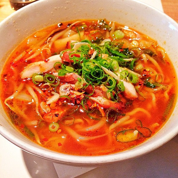 """""""Stamina"""" Ramen: Chicken-Soy Sauce-Chili Broth, Shrimp Paste, Chicken Chashu, Onion, Napa Cabbage, Bean Sprout, Garlic Chives.  Insanely good."""
