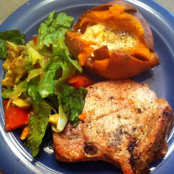 Grilled Pork Chop, Baked Sweet Potato, Salad @ Casa Olive
