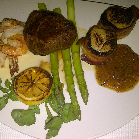 6 oz. Filet Mignon with 3 Grilled Shrimp & 2 Bacon Wrapped Scallops - Morton's The Steakhouse - Boca Raton, Boca Raton, FL