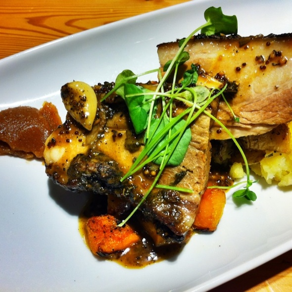 8 Hour Roasted Herb Mustard Rubbed Pork Shoulder, Smashed Potato, Dijon Thyme Jus, Stone Fruit Compote @ Fabarnak