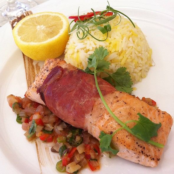 Spanich Seranno Ham Wrapped Scottish Salmon Fillet Saffron Rice Warm Eggplant Caponata @ Oasis @ The Clearwater Bay Golf & Country Club