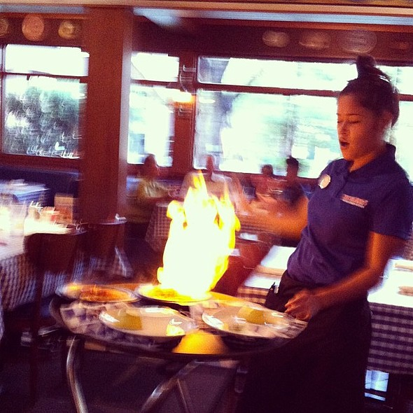 Saganaki, opa! , , , @ Yia Yia Mary's Greek Kitchen