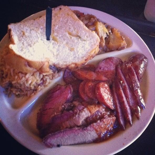 Beef Brisket, Jalapeño Pork Sausage, Jambalaya Texana, Austin Baked Beans & a slice of Jalapeño Bread. , , , @ Goode Company BBQ - Kirby
