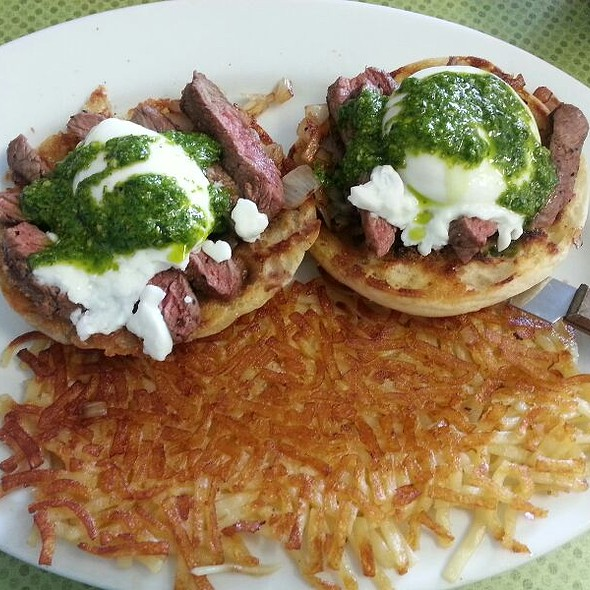steak eggs benedict with pesto and hash browns @ Purple Finch Cafe