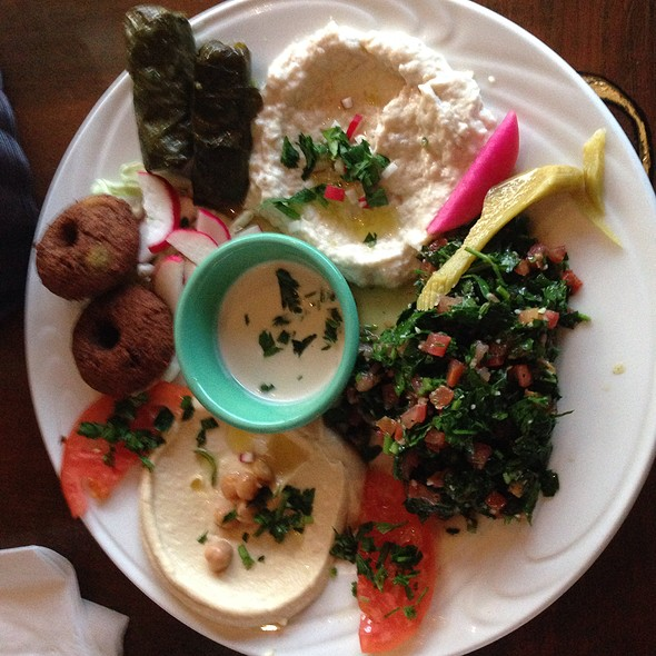 Vegetarian Platter - Falafel, Tabouli, Baba Ganoush - Magic Lamp Grill, Long Beach, CA