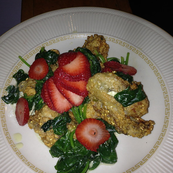 fried oysters with spinach, strawberries & camembert cream - Cajun Pacific, San Francisco, CA