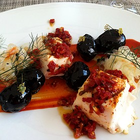 Halibut With Pepper-Sundried Tomato Coulis And Squid Ink Aioli Potatoes