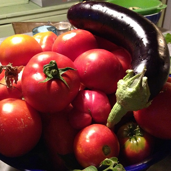 Tomatoes And Aubergines From The Garden