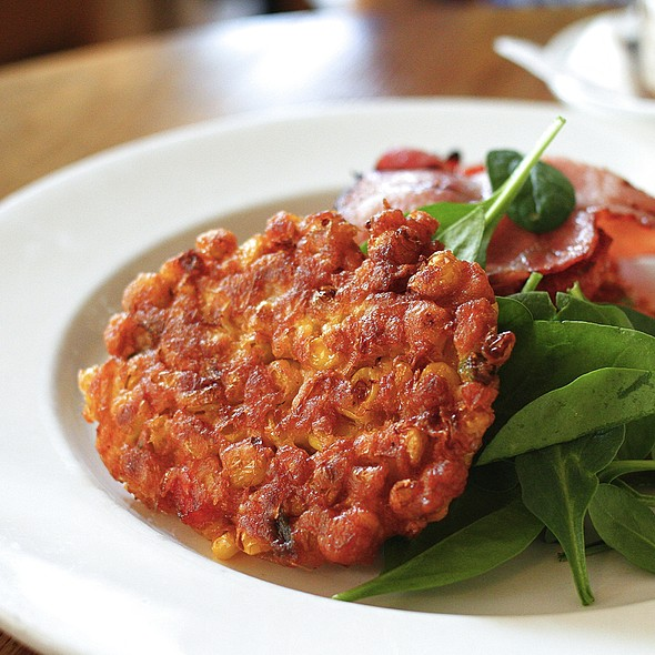 Sweetcorn Fritters With Roast Tomato, Spinach And Bacon @ Bills Surry Hills