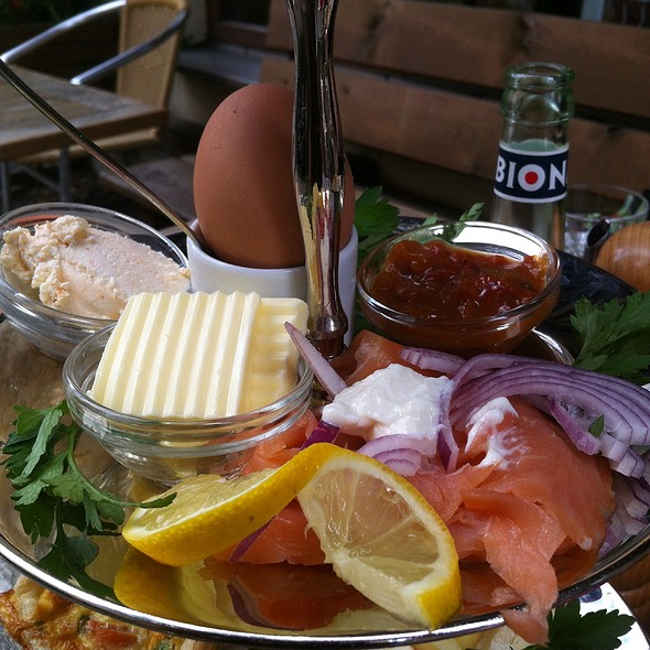 Smoked Salmon With Horseradish Cream, Spicy Spread, Soft Boiled Egg, Chutney. Tier 2 Of Breakfast Tray