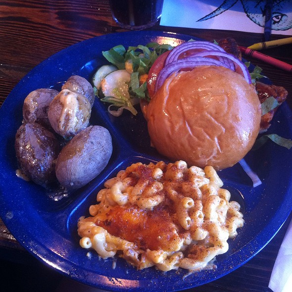 Chicken Burger With Mac N Cheese & Butter Boiled Potatoes - Dinosaur Bar-B-Que - Troy, Troy, NY