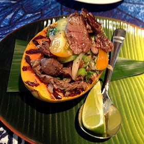 Seared Beef Polynesian served in a grilled ripe papaya & Tahitian Style Ceviche