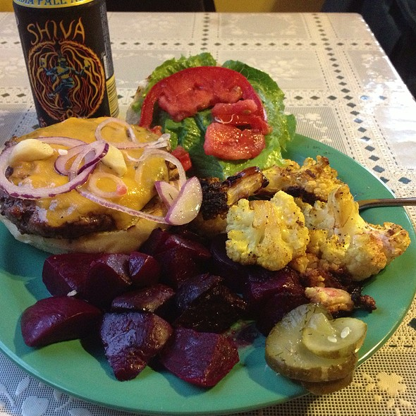 Burger, Beets And Curried Cauliflower