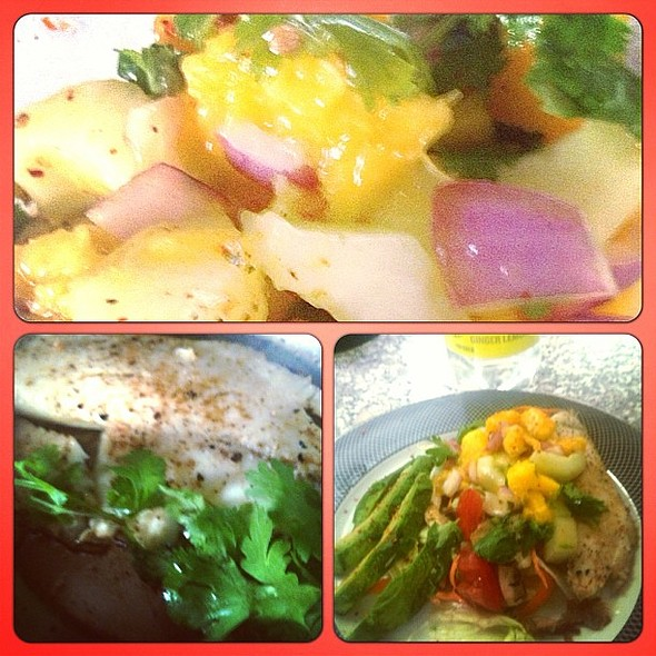 Easy summer dinner: mango salsa, salad, fish and avocado. Time to prepare 20 min. @ World House Medicine