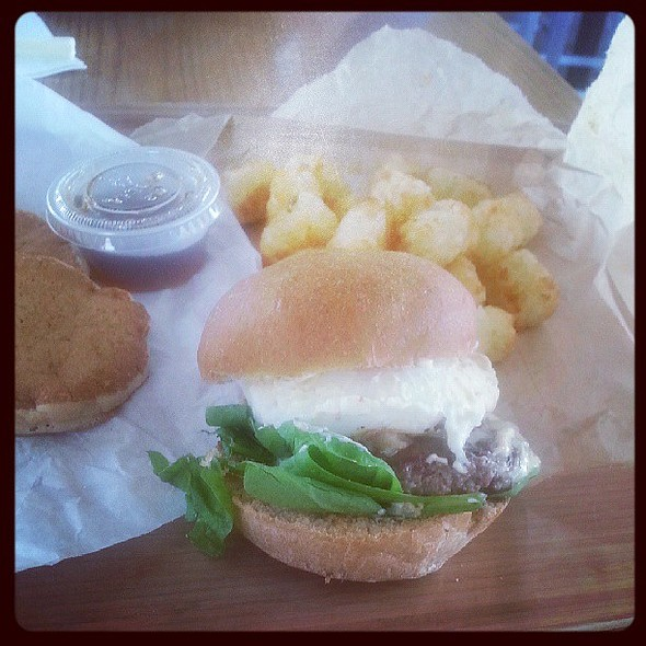 Brunch burger with tots and pancakes @ Start Restaurant