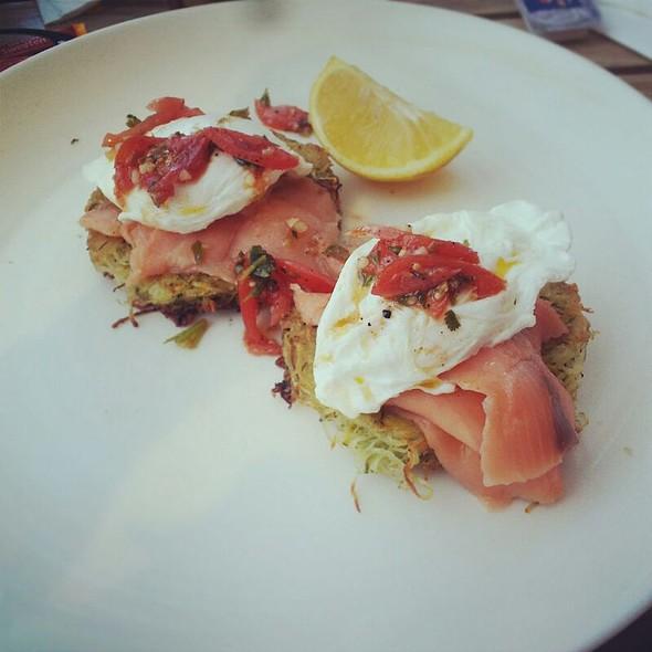 Smoked Salmon And Poached Egg On Zucchini Fritter @ Doppio Zero Sandton City