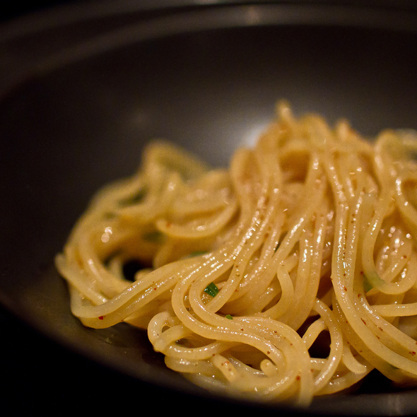 Fresh noodles with shrimp roe, tarragon and chicken jus @ Benu