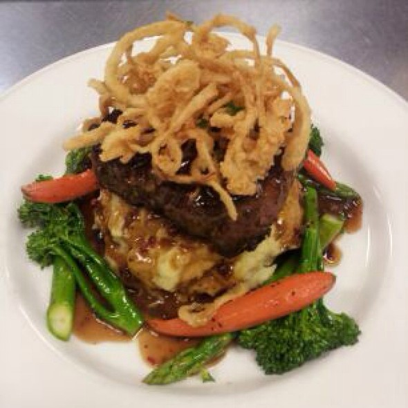 Seared Filet Mignon With A Honey And Pink Peppercorn Demi Glacé Roasted  Garlic Mashed Potatoes, Fried Crispy Onions, And Vegetables At Formaggio  Taverna And ...