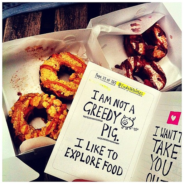 Proud to say I am no longer a cronut virgin! ~ Rinkoff Bakery Cro-dough treats from @oliverndenton. Firsts are always truly special!...... Doing lots of my notes today  @ Golden Square