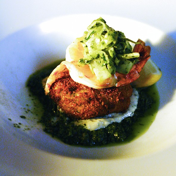 Crumbed crab cake, grilled prawn, cornichon, fennel, sauce gribiche @ Cafe Sydney