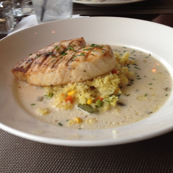 Grilled Swordfish Curried Vegetable Rice And Coconut Broth