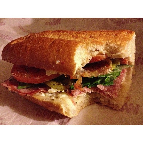 Reminiscing about . YURP ate two halves in one day....this one with spinach, cucumber, tomatoes, pepper, provolone in meat in our bed. Fell out after a road trip to , ....guess I'll settle for a YURP.....I am in love with food, n . @ Albright WAWA