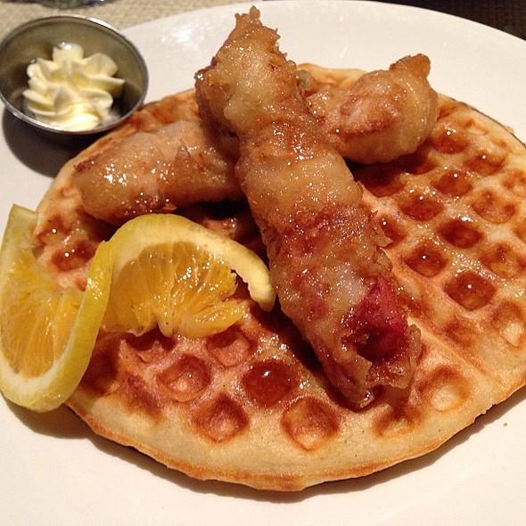 Crispy tempura Chicken with bacon-studded waffles! Good recommendation from Jimmy Chu. @ Calafia Café & Market A-Go-Go