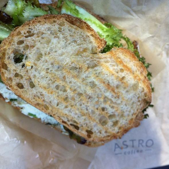 Ricotta, Tomato, Shishito Peppers And Greens Sandwich @ Astro Coffee