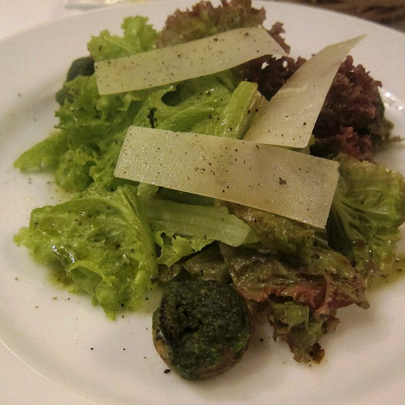Roasted White Button Mushrooms Stuffed with Escargot and Herb Butter, Mesclun Salad, Parmesan Shaving @ Brasserie CiÇou