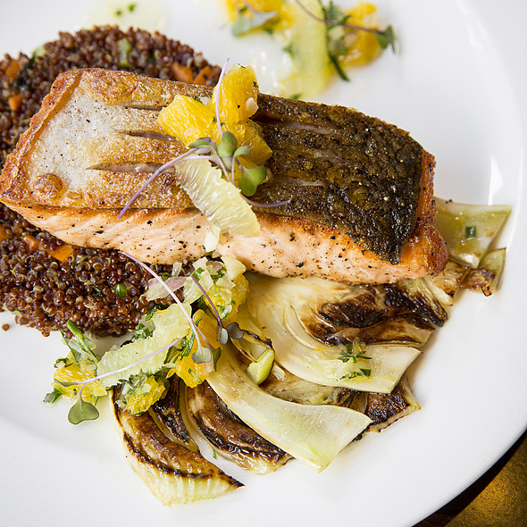 Skuna Bay Salmon, Red Quinoa, Charred Fennel and Citrus @ Square 1682