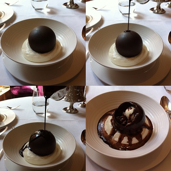 Dark Chocolate Sphere With Honeycomb And Milk Chocolate Sauce