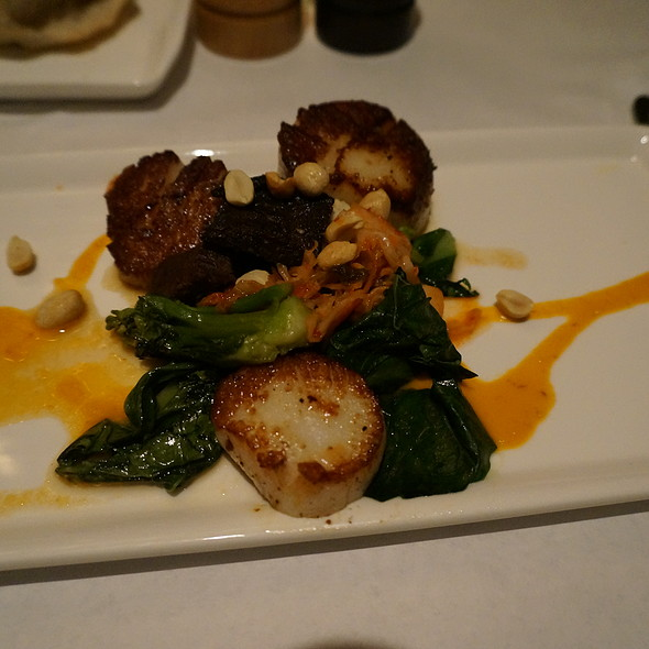 Seared diver scallops, Korean braised bbq short ribs, kimchi, Chinese broccoli, toasted peanuts