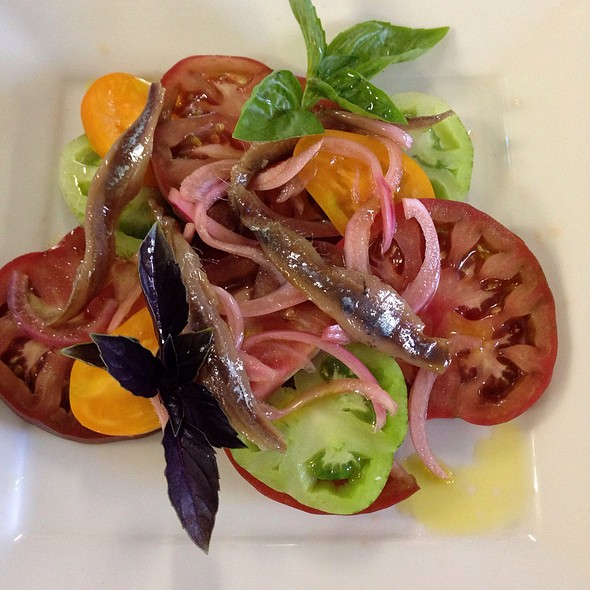 Summer Tomato Salad With Opal Basil And Recco Anchovies - Depot Hotel Restaurant, Sonoma, CA