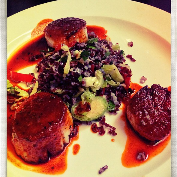 Seared Diver Scallops With Red Rice - Sparrow Bar + Cookshop, Houston, TX