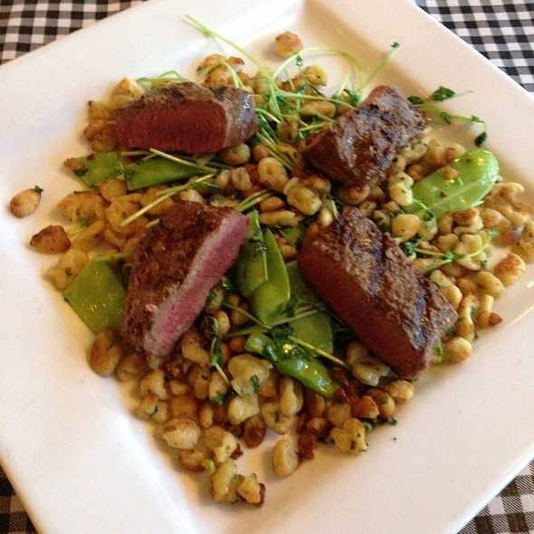 Lamb Loin With Chive Spaetzel, Pea Vine, Snow Peas - Apple Farm Restaurant, San Luis Obispo, CA
