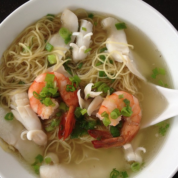 seafood and egg noodle with vegetable in soup @ Bluewater Restaurant