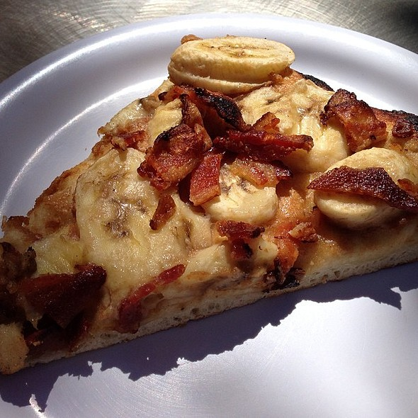 Deliciously fun daily special at work: Presley pizza with bananas, peanut butter spread & @ URL's Cafe at Yahoo!